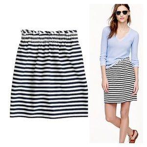 J Crew Navy & White Striped Linen Sidewalk Skirt